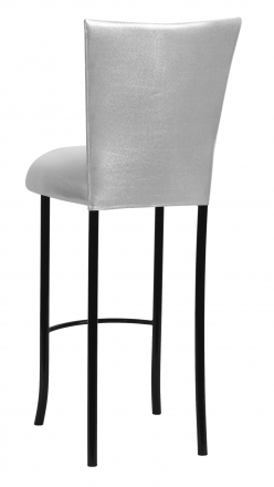 Metallic Silver Stretch Knit Barstool Cover and Cushion on Black Legs (1)