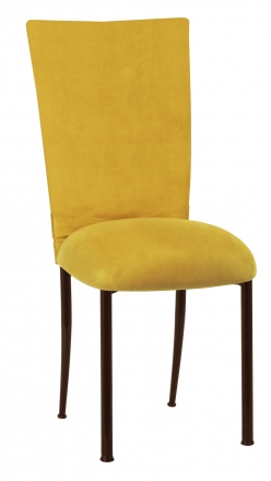 Canary Suede Chair Cover with Jewel Belt and Cushion on Brown Legs (2)