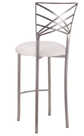 Silver Fanfare Barstool with White Leatherette Cushion (1)