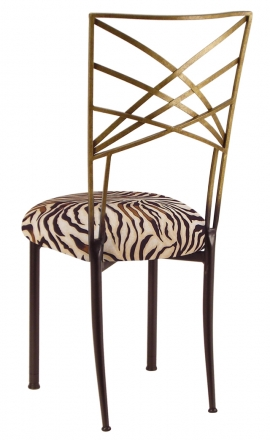 Two Tone Gold Fanfare with Zebra Stretch Knit Cushion (1)