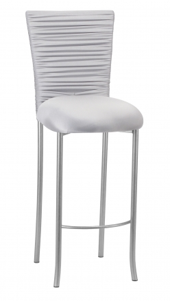 Chloe Silver Stretch Knit Barstool Cover with Jewel Band and Cushion on Silver Legs (2)