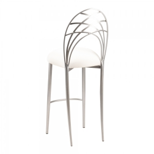 Silver Piazza Barstool with Ivory Stretch Knit Cushion (1)
