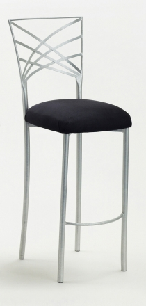 Silver Fanfare Barstool with Black Suede Cushion (2)