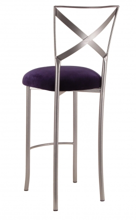 Silver Fanfare Barstool with Eggplant Velvet Cushion (1)