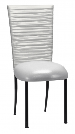 Chloe Metallic Silver on White Foil Chair Cover and Cushion on Black Legs (2)