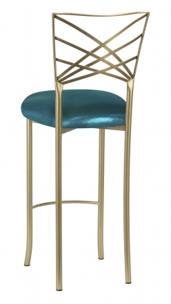 Gold Fanfare Barstool with Metallic Teal Knit Cushion (1)