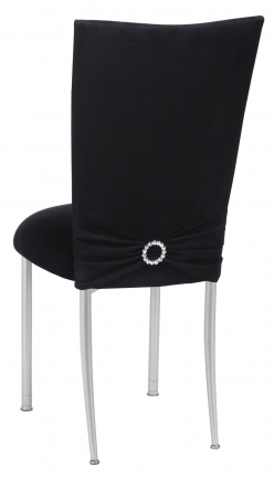 Black Suede Chair Cover with Jewel Belt, Cushion with Silver Legs (1)