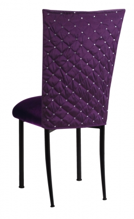 Purple Diamond Tufted Taffeta Chair Cover with Deep Purple Velvet Cushion on Black Legs (1)