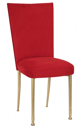 Rhino Red Suede Chair Cover and Cushion on Gold Legs (2)