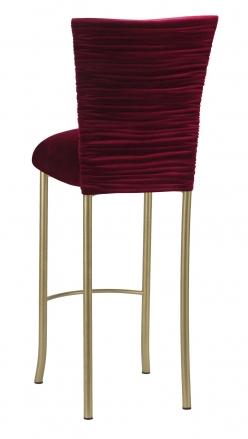 Cranberry Velvet Chloe Barstool Cover and Cushion on Gold Legs (1)