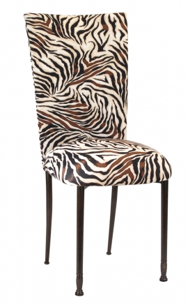 Zebra Stretch Knit Chair Cover and Cushion on Mahogany Legs (2)