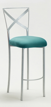 Simply X Barstool with Turquoise Suede Cushion (2)