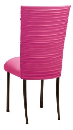 Chloe Fuchsia Stretch Knit Chair Cover and Cushion on Brown Legs (1)
