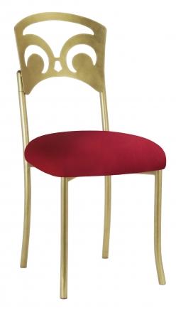 Gold Fleur de Lis with Cranberry Stretch Knit Cushion (2)
