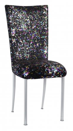 Black Paint Splatter Chair Cover and Cushion on Silver Legs (2)