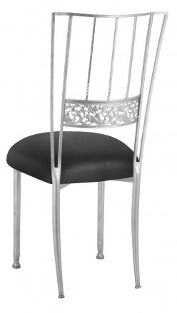 Silver Bella Fleur with Black Leatherette Cushion (1)
