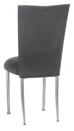 Charcoal Suede Chair Cover and Cushion on Silver Legs (1)