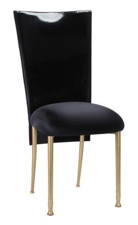 Black Patent 3/4 Chair Cover with Black Stretch Knit Cushion on Gold Legs (2)