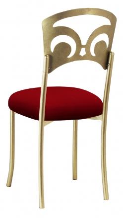 Gold Fleur de Lis with Red Stretch Knit Cushion (1)