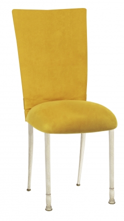 Canary Suede Chair Cover with Jewel Belt and Cushion on Ivory Legs (2)