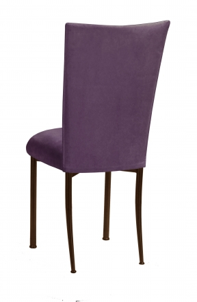 Lilac Suede Chair Cover and Cushion on Brown Legs (1)