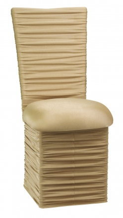 Chloe Gold Stretch Knit Chair Cover with Jewel Band, Cushion and Skirt (2)