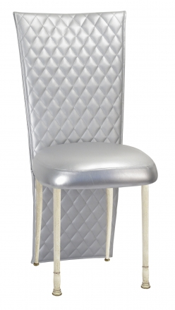 Silver Quilted Leatherette Jacket and Silver Stretch Vinyl Boxed Cushion on Ivory Legs (2)
