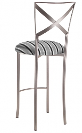 Simply X Barstool with Charcoal Stripe Cushion (1)