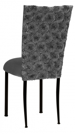 Pewter Circle Ribbon Taffeta Chair Cover with Charcoal Suede Cushion on Black Legs (1)