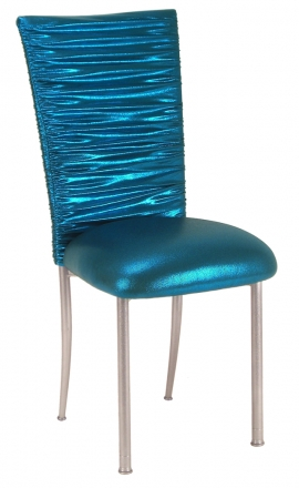 Chloe Metallic Teal Stretch Knit Chair Cover and Cushion on Silver Legs (2)