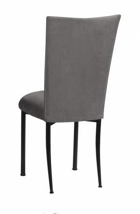 Charcoal Suede Chair Cover and Cushion on Black Legs (1)