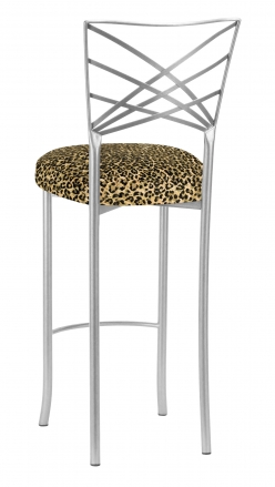 Silver Fanfare Barstool wth Leopard Boxed Cushion (1)
