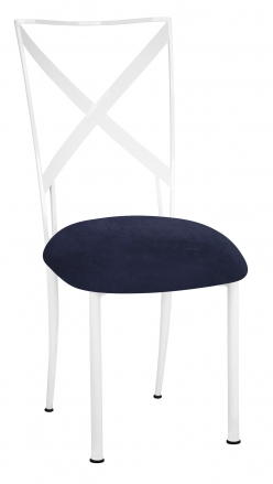 Simply X White with Navy Blue Suede Cushion (2)