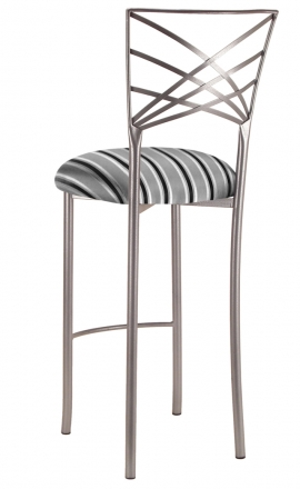 Silver Fanfare Barstool with Charcoal Stripe Cushion (1)