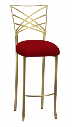 Gold Fanfare Barstool with Red Knit Cushion (2)