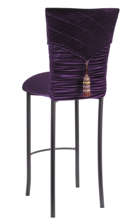 Eggplant Velvet Chloe Chair Cover with Eggplant Hat and Tassel with Cushion on Brown Legs (1)
