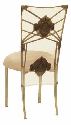 Gold Fanfare with Organza Medallion 3/4 Chair Cover and Toffee Stretch Knit Cushion (1)