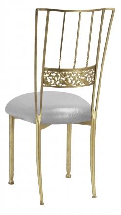 Gold Bella Fleur with Metallic Silver Stretch Knit Cushion (1)
