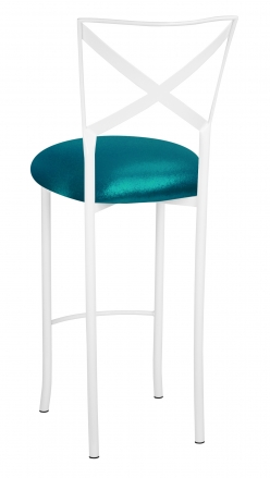 Simply X White Barstool with Metallic Teal Stretch Knit Cushion (1)