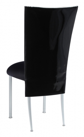 Black Patent 3/4 Chair Cover with Black Stretch Knit Cushion on Silver Legs (1)