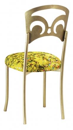 Gold Fleur de Lis with Yellow Paint Splatter Stretch Knit Cushion (1)