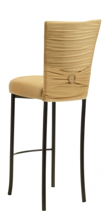 Chloe Gold Stretch Knit Barstool Cover with Jewel Band and Cushion on Brown Legs (1)