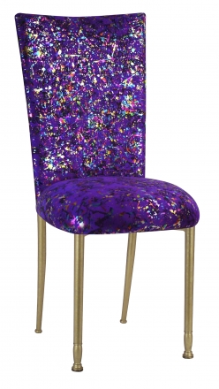 Purple Paint Splatter Chair Cover and Cushion on Gold Legs (2)