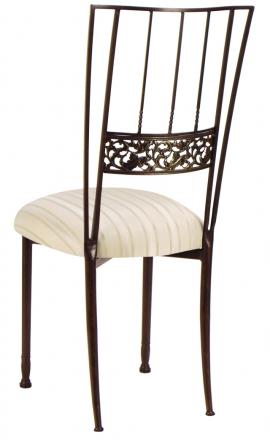 Mahogany Bella Fleur with Ivory Sateen Stripe Cushion (1)