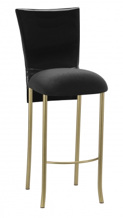 Black Patent Barstool Cover with Bow Belt and Cushion on Gold Legs (2)