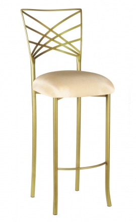 Gold Fanfare Barstool with Champagne Bengaline Cushion (2)