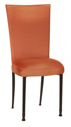 Orange Taffeta Chair Cover with Boxed Cushion on Mahogany Legs (2)