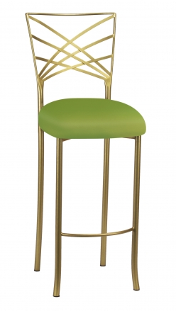 Gold Fanfare Barstool with Lime Knit Cushion (2)