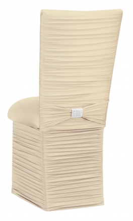 Chloe Ivory Stretch Knit Chair Cover with Rhinestone Accent Band, Cushion and Skirt (1)