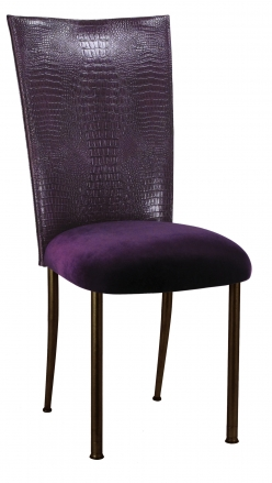 Purple Croc Chair Cover with Eggplant Velvet Cushion on Brown Legs (2)